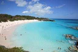 overhead view of Horseshoe Bay and Beach on the Island of Bermuda