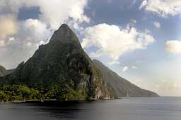 Petit & Gros Piton from the sea at St. Lucia