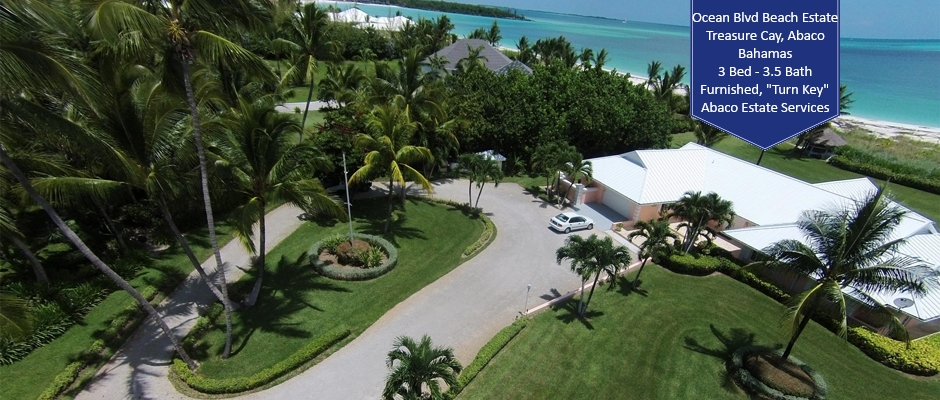 Aerial view of the Treasure Cay beach home