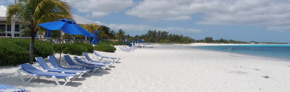 treasure cay beach with lounge chairs