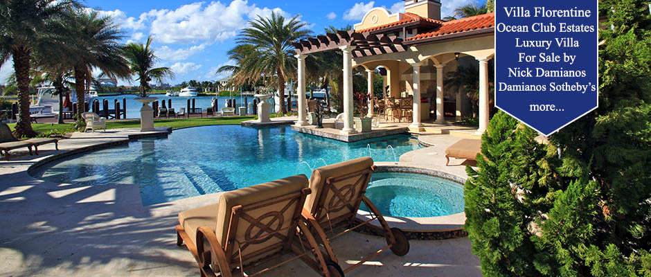 Poolside view of luxury Bahamas Residence
