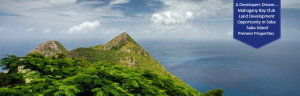 Volcano top view of Saba land for development to the Sea
