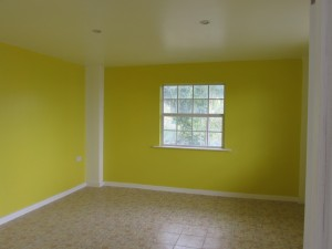 bedroom - yellow with white trim