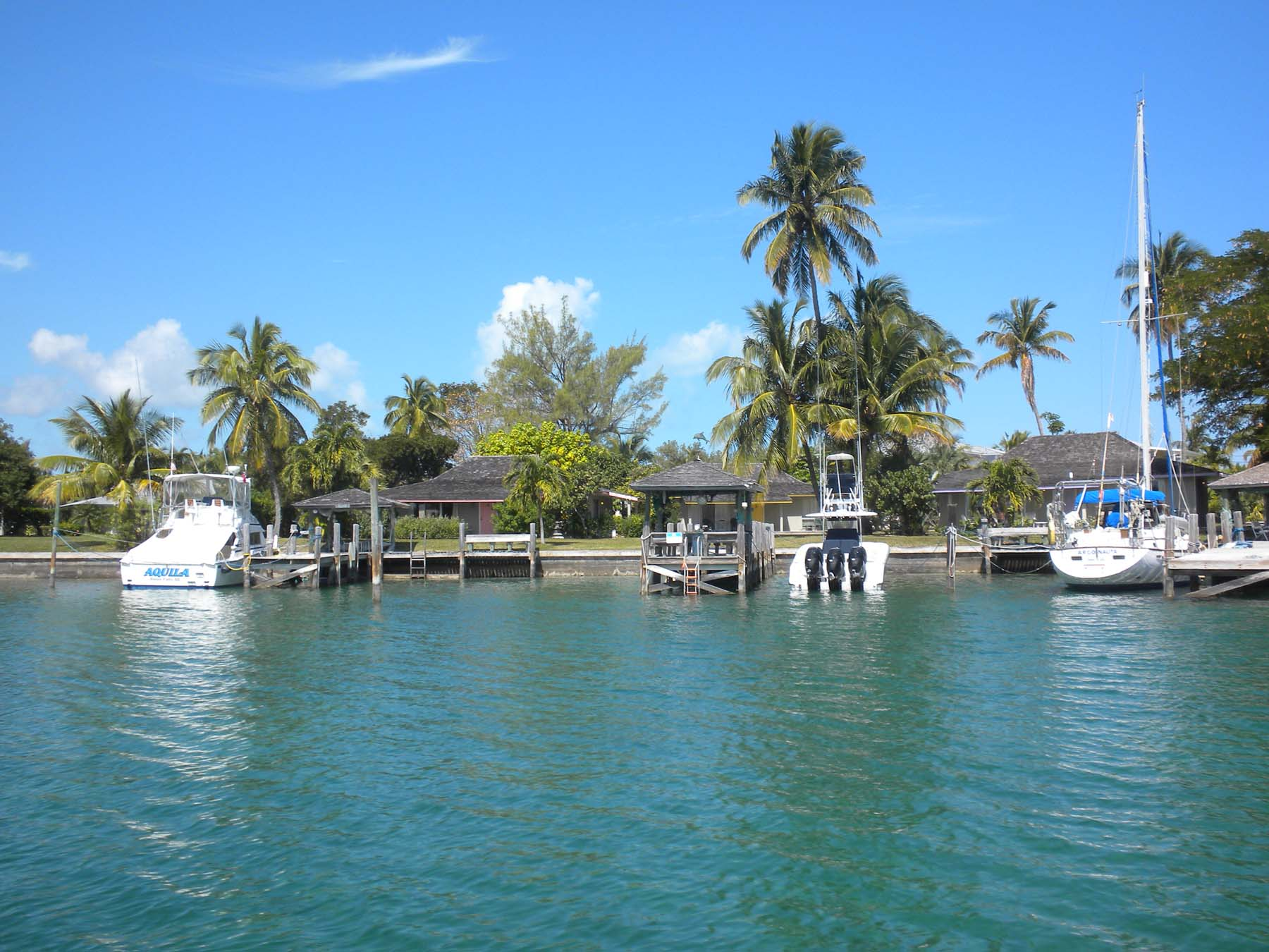 direct view across bay or canal of villas